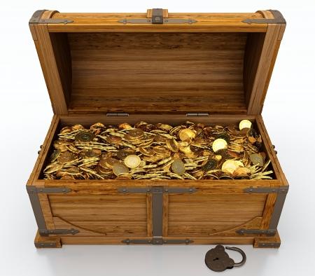 cofre tesoro: Del tesoro lleno de monedas de oro en el pecho en el fondo blanco