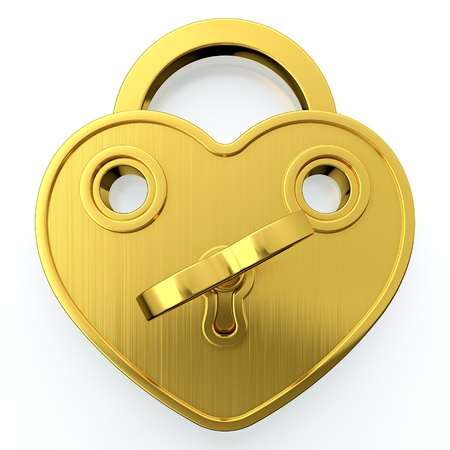 lock and chain: Golden padlock in form of heart with key in it Stock Photo