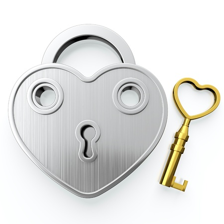 Golden padlock in form of heart on white background photo