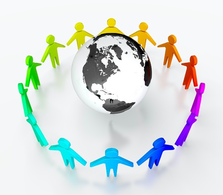 People in circle surrounding the Earth. Symbol of global communication. Stock Photo