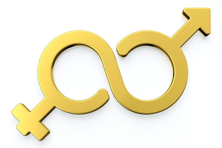 3d render of male and female gender symbols isolated on white background.