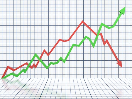 profit graph: Business graph with red and green arrow