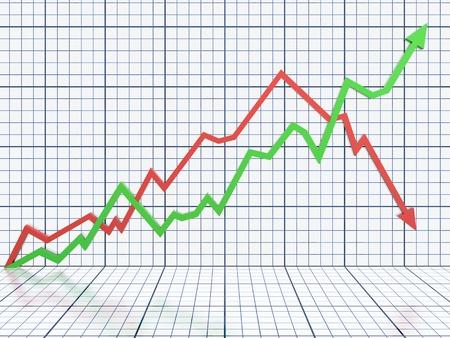 perdidas y ganancias: Negocios gr�fico con la flecha roja y verde