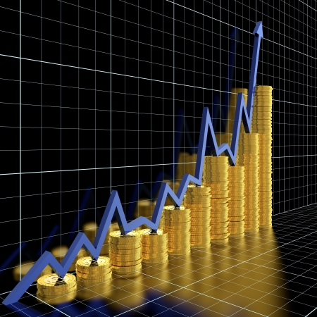stock graph: Business graph moving up and showing money earning