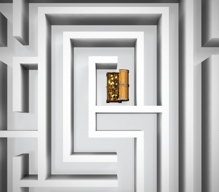 Maze with treasure chest in center of it Stock Photo - 13747992