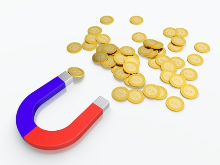 3D render of money magnet with golden coins Stock Photo - 13747970