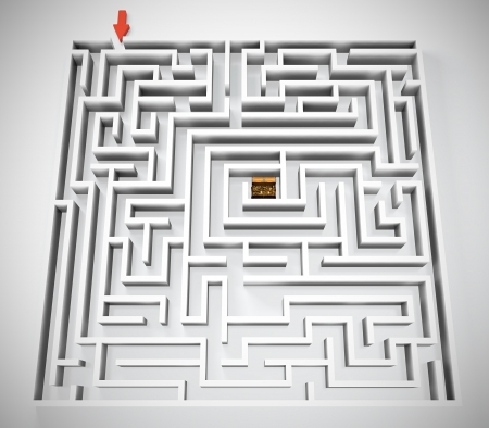 Maze with treasure chest in center of it photo