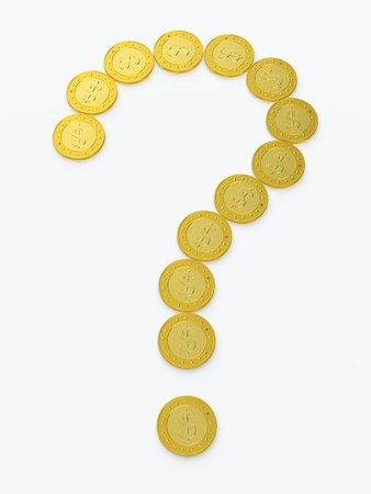 Question sign made of golden coins on white background Stock Photo - 13747968