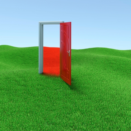 green door: Green lawn with mysterious door opened to another reality