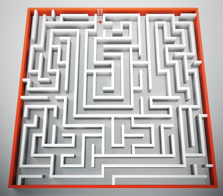 ladder of success: 3D render of person trying to escape from maze