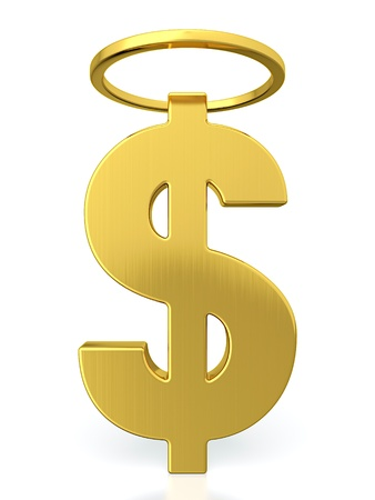 angels: 3D render of golden dollar sign with halo above it Stock Photo