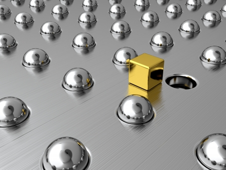 Gold cube among silver spheres. Symbol of uniqueness Stock Photo