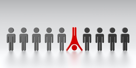 figure out: One person standing out from the crowd