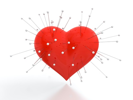 3D render of red heart with needles on white background photo