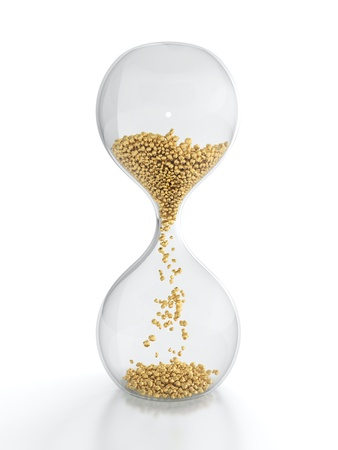 sand timer: 3D render of hourglass with golden grain Stock Photo