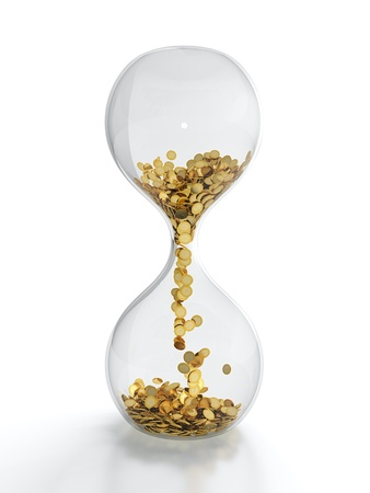 sands of time: 3D render of hourglass with golden coins