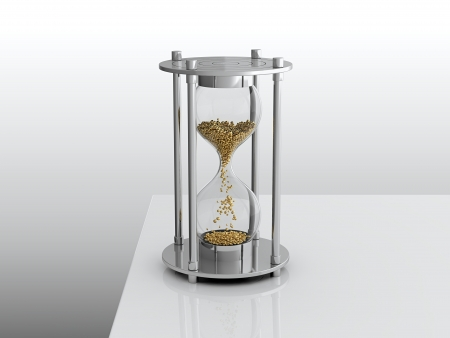 3D render of hourglass with golden grain photo