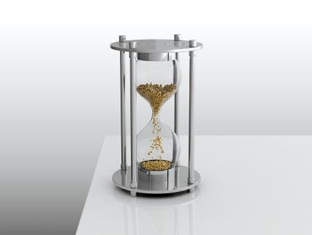 3D render of hourglass with golden grain photo