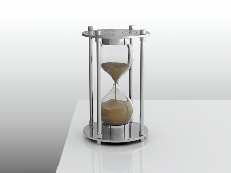 sand timer: 3D render of hourglass on white table