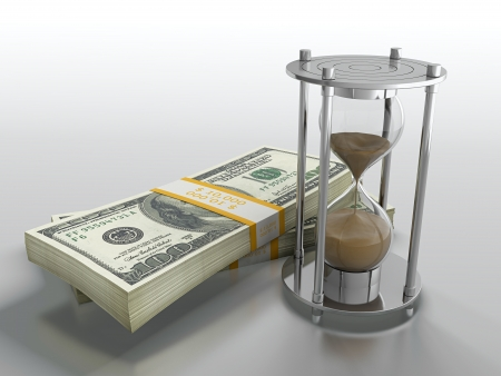 3D render of hourglass and dollar stack on grey background photo