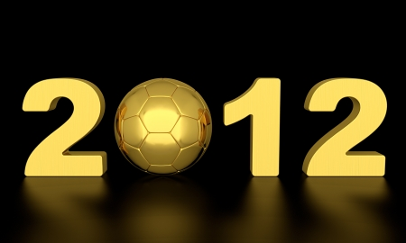 3D render of soccer ball and 2012 number black background photo