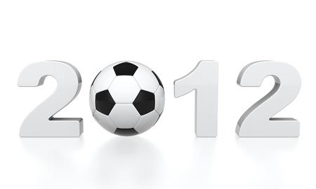 3D render of soccer ball and 2012 number on white background photo