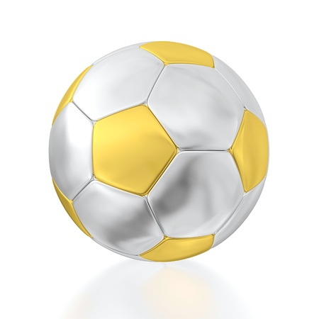 metal ball: 3D render of half-gold and half-silver soccer ball on white background. Stock Photo