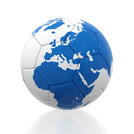 3D render of soccer ball with earth map on white background photo