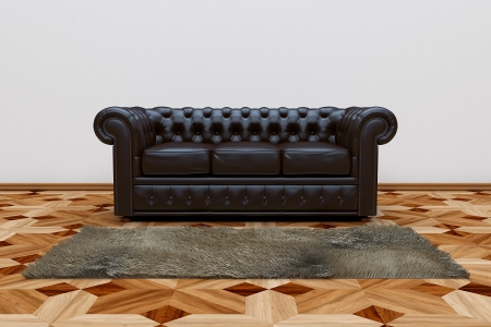 3D render of black leather sofa and brown carpet on wooden parquet. photo