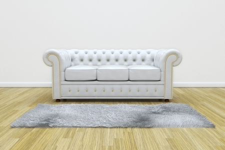 3D render of white leather sofa and white carpet on wooden parquet.