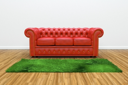 3D render of red leather sofa and green carpet on wooden parquet. photo