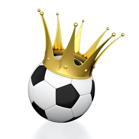 Soccer ball with golden crown isolated on white background photo