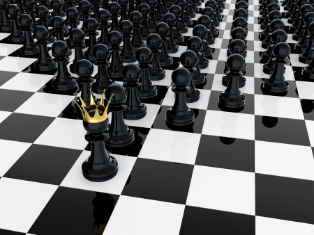power failure: 3D render of black pawn with golden crown leading it army
