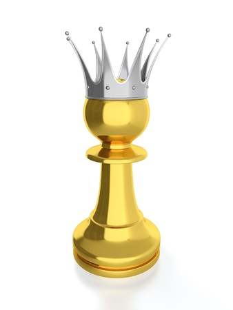 power failure: 3D render of golden pawn with silver crown isolated on white background. Stock Photo