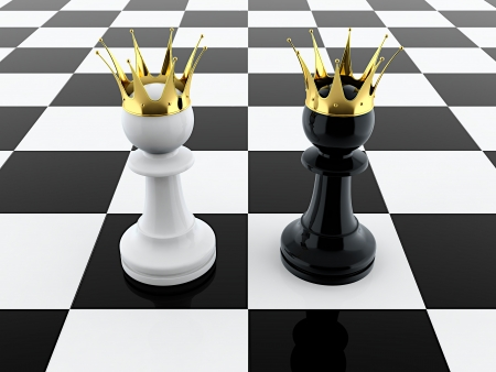3D render of black and white pawn kings on chessboard photo