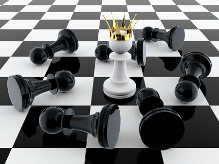 3D render of white pawn with golden crown defeating enemy