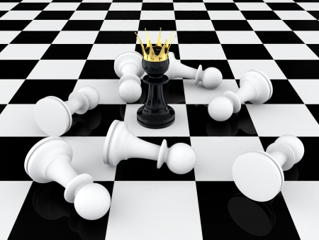 3D render of black pawn with golden crown defeating enemy photo