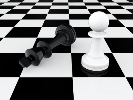 power failure: 3D render of white pawn defeating chess king