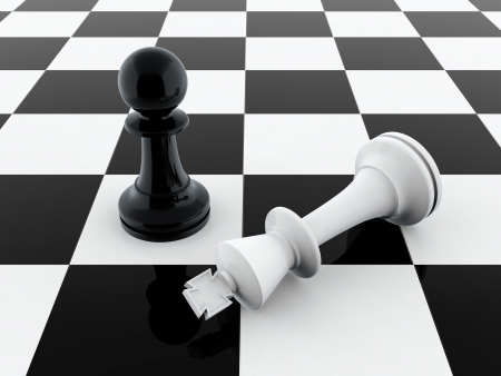 3D render of black pawn defeating chess king photo