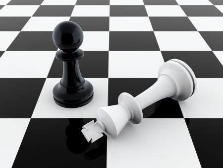 Rendu 3D de pion noir vaincre le roi d'échecs