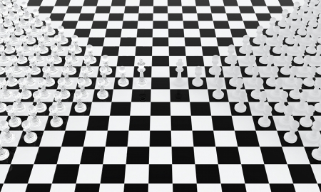 Two chess armies standing against each other photo