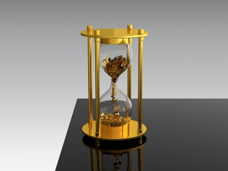 3D render of hourglass with golden coins on black table photo