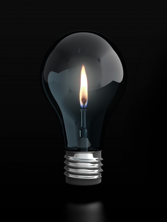 knowledge is power: 3d render of light bulb with candle flame inside it on black background