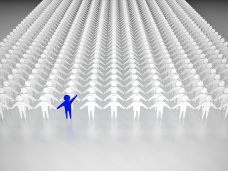 man looking out: One person standing out from the crowd