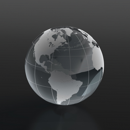 3d render of globe made of glass on black background photo