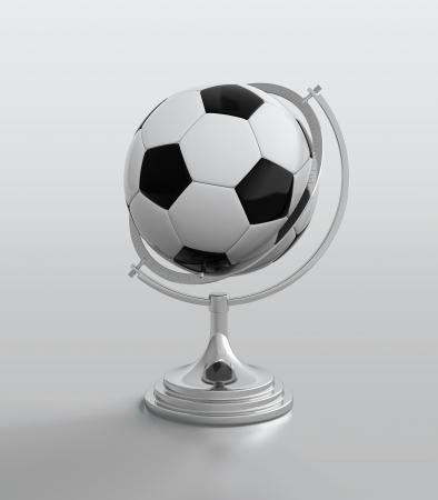 3D render soccer ball globe on white background photo