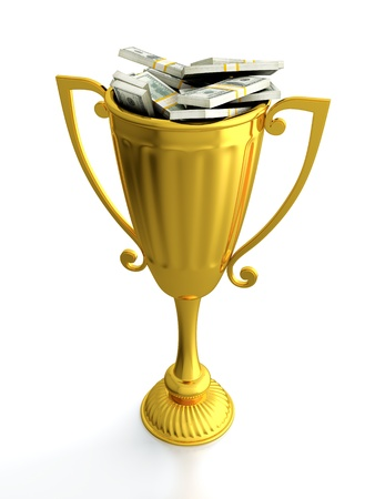 win money: 3D render of trophy cup full of money on white background