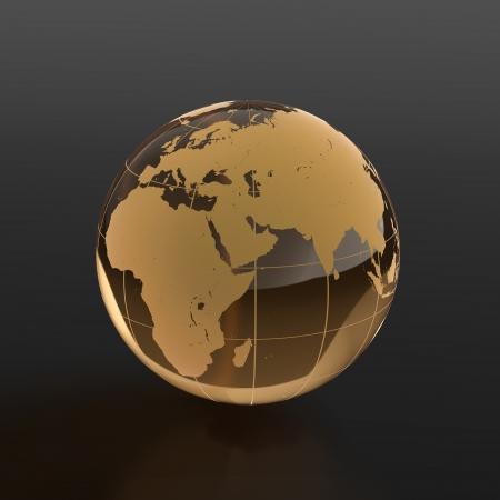 erde gelb: 3d render of globe aus Glas auf schwarzem Hintergrund