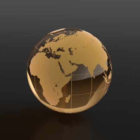 translucent red: 3d render of globe made of glass on black background
