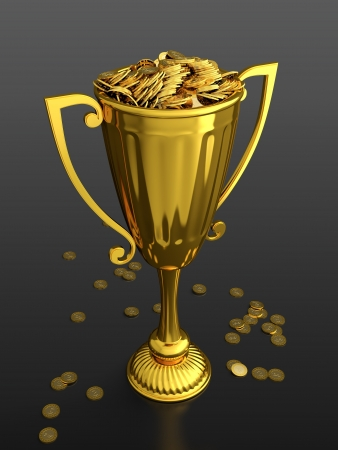 3D render of trophy cup full of money on black background photo